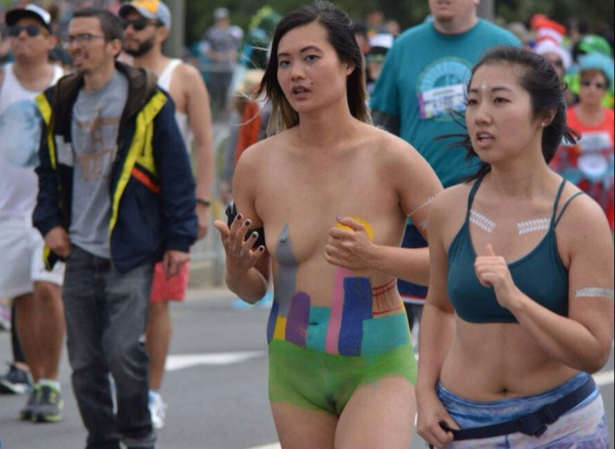 Chinese protester nude in public